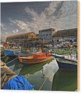 resting boats at the Jaffa port Wood Print