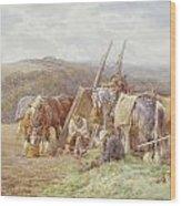 Resting In The Field  Wood Print by Charles James Adams