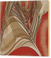 Resting Woman - Portrait In Red Wood Print