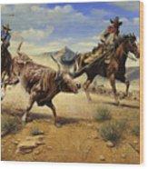 Restraint 2 Cowboys Roping A Steer Wood Print