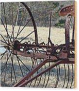 Retired Hay Rake Wood Print