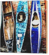 retired Kayaks Wood Print by Rebecca Adams