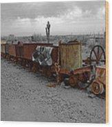 Retired Mining Ore Cars Wood Print