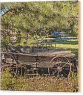Retired Wagon At Thousand Trails Wood Print