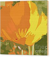 Retro Abstract Poppies 2 Wood Print