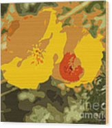 Retro Abstract Poppies 3 Wood Print
