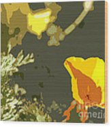 Retro Abstract Poppies 4 Wood Print by Artist and Photographer Laura Wrede