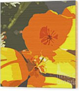 Retro Abstract Poppies Wood Print