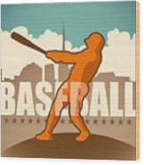 Retro Baseball Poster. Vector Wood Print