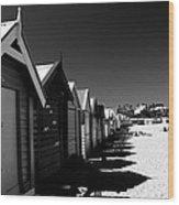 Retro Beach Huts II Wood Print