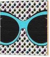 Retro Blue Cat Sunglasses Wood Print