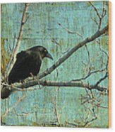 Retro Blue - Crow Wood Print
