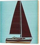 Retro Blue Sailing Wood Print