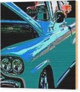 Retro Blue Truck Wood Print