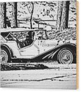 Retro Cabriolet Wood Print