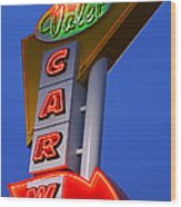 Retro Car Wash Sign Wood Print by Norman Pogson