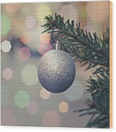 Retro Christmas Tree Decoration Wood Print