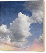Retro Clouds 2 Wood Print