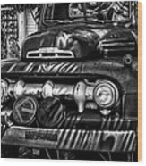 Retro Fire Engine Wood Print