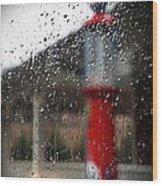 Retro Gas Pump On A Rainy Day Wood Print