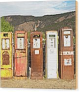 Retro Gas Pumps In Outdoor Museum Nm Wood Print
