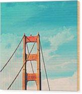 Retro Golden Gate - San Francisco Wood Print