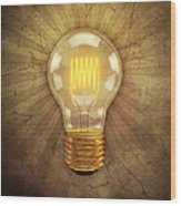 Retro Light Bulb Wood Print