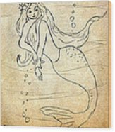 Retro Mermaid Wood Print
