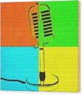 Retro Microphone Pop Art 2 Wood Print