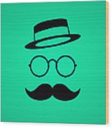Retro Minimal Vintage Face With Moustache And Glasses Wood Print