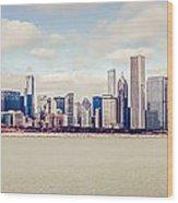 Retro Panorama Chicago Skyline Picture Wood Print