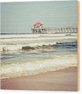 Retro Photo Of Huntington Beach Pier  Wood Print
