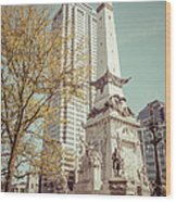 Retro Picture Of Indianapolis Soldiers And Sailors Monument  Wood Print