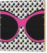 Retro Pink Cat Sunglasses Wood Print