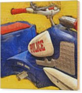 Retro Police Tricycle Wood Print
