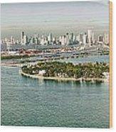 Retro Style Miami Skyline And Biscayne Bay Wood Print