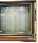 Retro Style Television Set With Bad Picture Wood Print