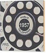 Retro Telephone 1957 Public Telephone Wood Print