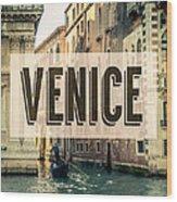 Retro Venice Grand Canal Poster Wood Print