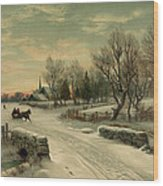 Retro Vintage Rural Winter Scene Wood Print