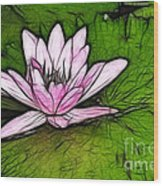Retro Water Lilly Wood Print by Bob Christopher