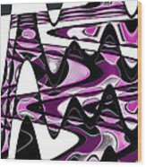 Retro Waves Abstract - Pink Wood Print
