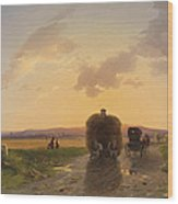 Return From The Field In The Evening Glow Wood Print