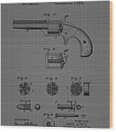 Revolver Firearm Patent Blueprint Drawing Wood Print