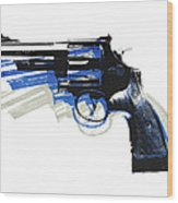 Revolver On White - Left Facing Wood Print by Michael Tompsett