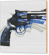 Revolver On White - Right Facing Wood Print