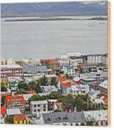 Reykjavik On The Water Wood Print