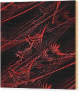 Rhapsody In Red V - Panorama - Abstract - Fractal Art Wood Print