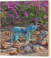 Rhino And Bougainvillea Wood Print