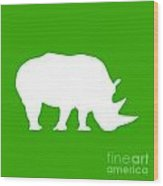Rhino In Green And White Wood Print